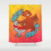 smaug Shower Curtains featuring Angry Dragon by laPanny