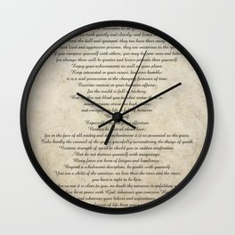 Desiderata Poem By Max Ehrmann Nr. 1001-1 Wall Clock