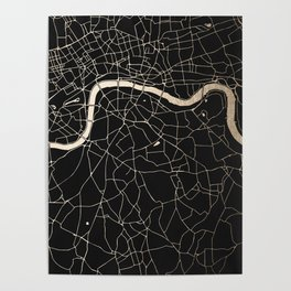 London Black on Gold Street Map II Poster