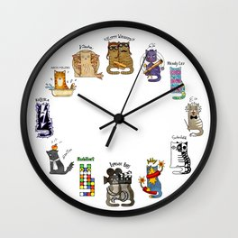Science cats. History of great discoveries. Schrödinger cat, Tesla, Einstein. Physics, chemistry etc Wall Clock