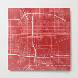 San Bernardino Map, USA - Red Metal Print
