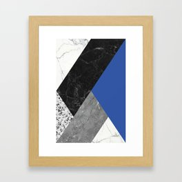 Black and White Marbles and Pantone Lapis Blue Color Framed Art Print