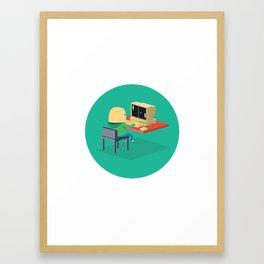 Nerd playing Pong Framed Art Print