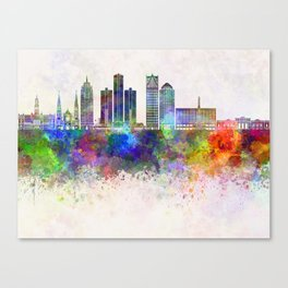 Detroit skyline in watercolor background Canvas Print