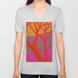 Three Red Trees Unisex V-Neck