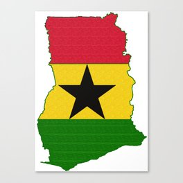 Ghana Map with Ghanian Flag Canvas Print