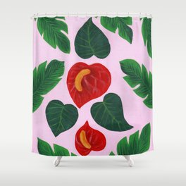 Anthurium Flowers and Banana Leaves Shower Curtain
