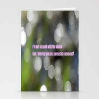 sarcasm Stationery Cards featuring Bokeh Sarcasm by Casey J. Newman