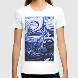 Oil Swirl Blue Droplets Abstract I T-shirt