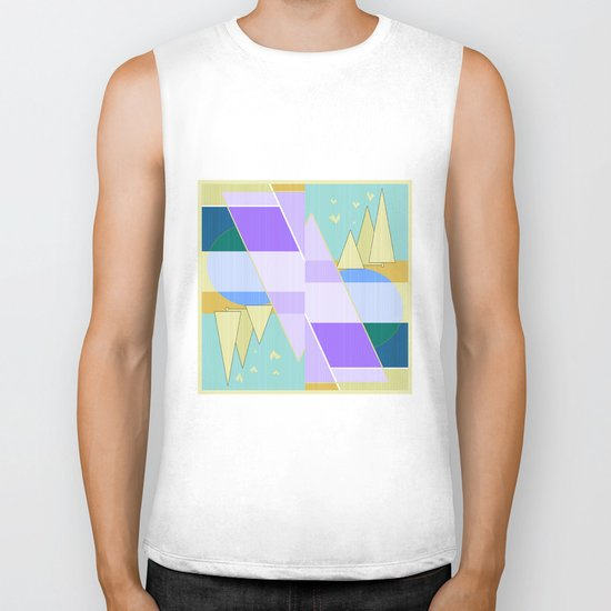 Abstraction in purple and blue colors .  Biker Tank