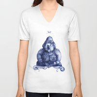 fat V-neck T-shirts featuring Fat Lady by Anna Cannuzz