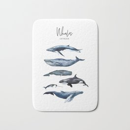 Watercolor Whales, Cetaceans, Whale Cetacea Bath Mat