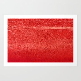 Crinkled Bold Red Foil Texture Christmas/ Holiday Art Print