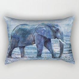 The Elephants Journey Blue Moon Rectangular Pillow