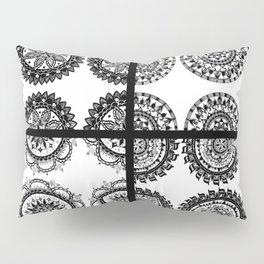 Black and White Patch-Work Mandala Textile Pillow Sham