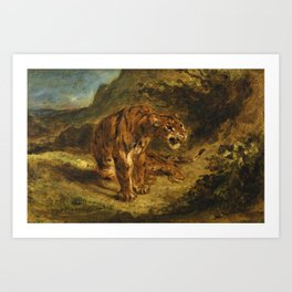 """Eugène Delacroix """"Tiger on the Look-Out or Growling Tiger"""" Art Print"""