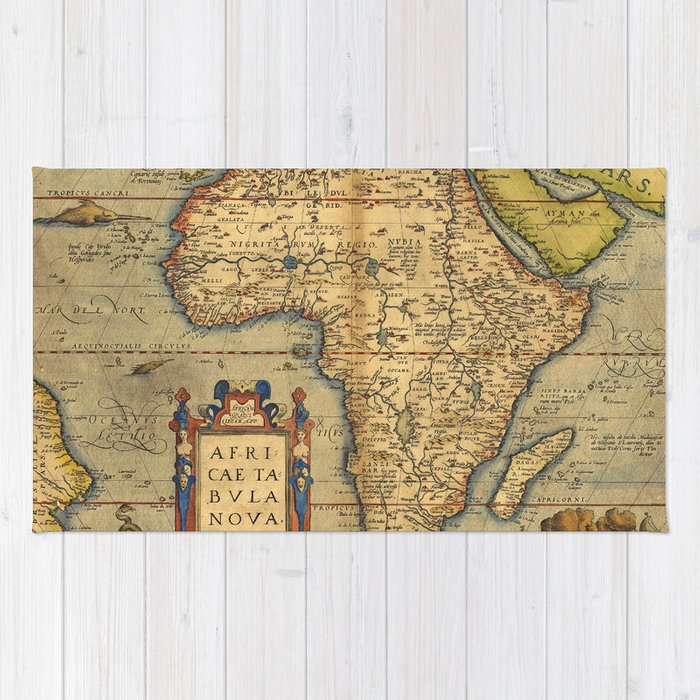 Old map of Africa Rug by foxxmap | Society6