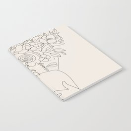 Woman with Flowers Minimal Line III Notebook