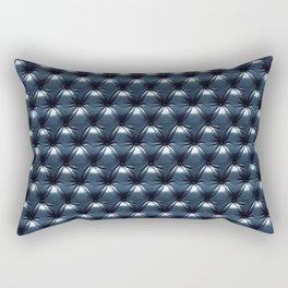 Faux Midnight Leather Buttoned Rectangular Pillow