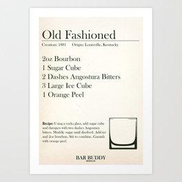 Old Fashioned Recipe Art Print