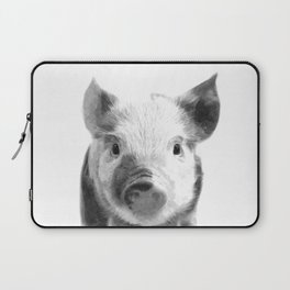 Black and white pig portrait Laptop Sleeve