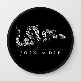 Join or die - white on black version Wall Clock