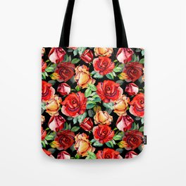Hand painted black red watercolor roses floral Tote Bag