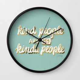 Kind People Are My Kinda People – Mint & Gold Wall Clock