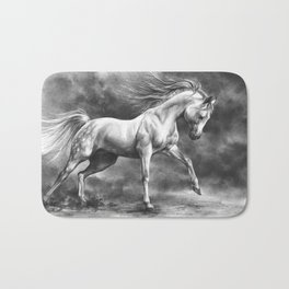 Running white horse - equine art Bath Mat