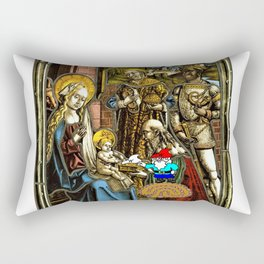 Will the Wandering Gnome Shares a White Hat with Jesus (Gnome Art) (Christmas Art) Rectangular Pillow