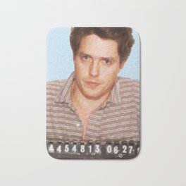 Painting of Hugh Grant Mug Shot 1995 Black Color Mugshot Bath Mat