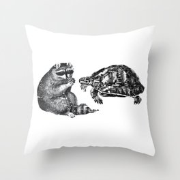 Racoon Turtle Throw Pillow