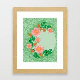 Abstract roses frame Framed Art Print