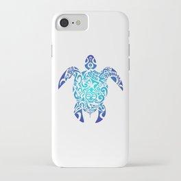 Tribal Sea Turtle Ocean Blue Hawaii Polynesian Maori iPhone Case