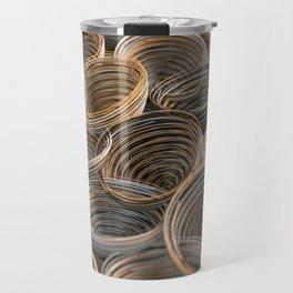 Black, white and orange spiraled coils Travel Mug