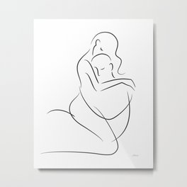 Sexy art for bedroom. Subtle erotic making love drawing. Metal Print