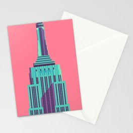 Empire State Building New York Art Deco - Red Stationery Cards