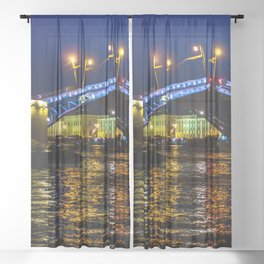 Raising bridges in St. Petersburg Sheer Curtain