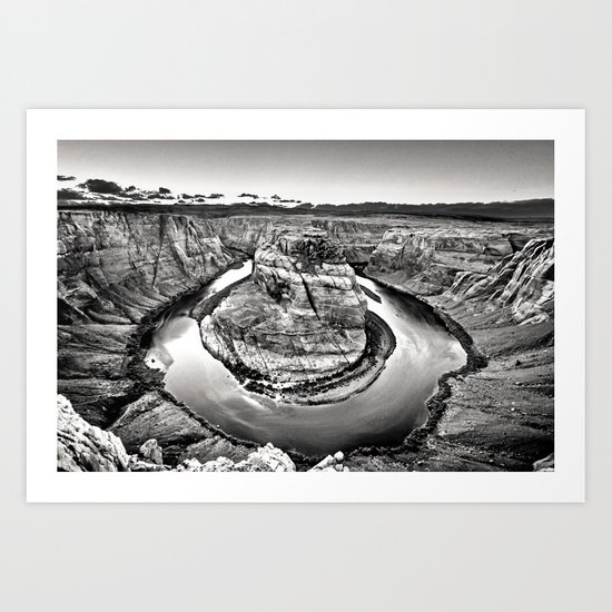 Horseshoe Bend Arizona Black and White Art Print