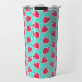Pink & Blue Strawberries Travel Mug