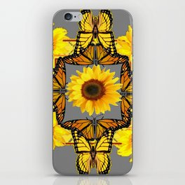WESTERN STYLE YELLOW SUNFLOWERS & ORANGE MONARCH BUTTERFLIES iPhone Skin
