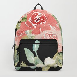 Loose Watercolor Rose Bouquet Dark Background Backpack