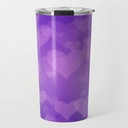 Soft Purple Hearts On Graduated Background. Valentines Day Concept Travel Mug
