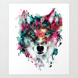 Wolf Face, Colorful Wolf Art Print