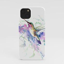 Hummingbird and Soft Purple Flowers iPhone Case