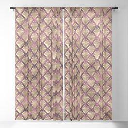 Burgundy Gold Art Deco Pattern Sheer Curtain