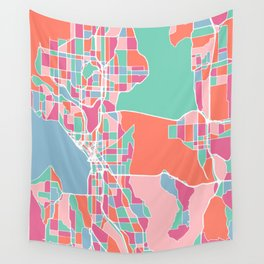 Seattle City Map Wall Tapestry