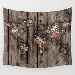 Wood Flowers Mapamundi Wall Tapestry
