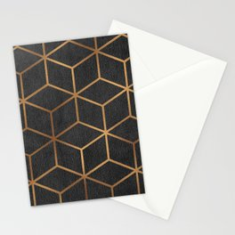 Charcoal and Gold - Geometric Textured Cube Design I Stationery Cards