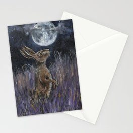 Supermoon Hare Stationery Cards